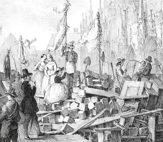 Barrikadenszene beim Stephansdom im Mai 1848